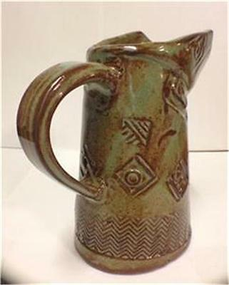 Mother Earth Artworks Hand Built and Thrown Textured Small Pitcher #12