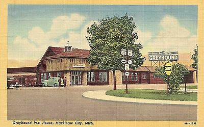 Greyhound Post House in Mackinaw City MI Postcard