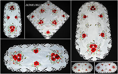 Beautiful Embroidered Oval Square White Table runner Tablecloth Doily Red Poppy