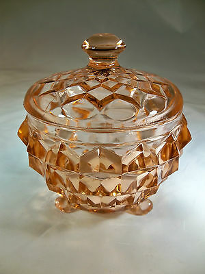 JEANNETTE GLASS CO. CUBIST or CUBE PINK 3-TOED COVERED POWDER JAR or DISH!