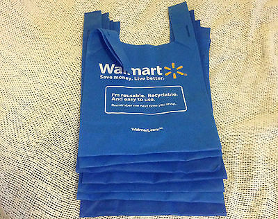 LOT of 10 WALMART ECO FRIENDLY REUSABLE Shopping Grocery TOTE BAGS Blue