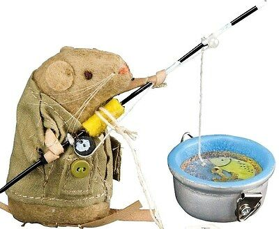 Fisherman MOUSE w/ FIshing Rod and Bucket