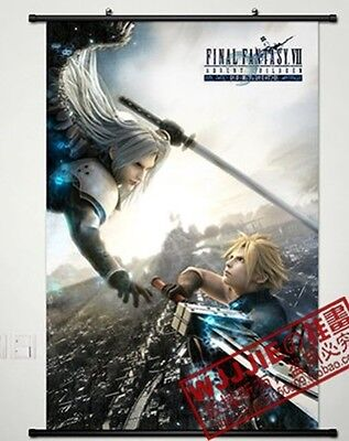 Final Fantasy Sephiroth Cloud Japanese Wall Poster Scroll Home  Anime Cosplay