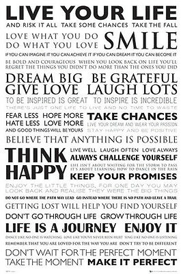 LIVE YOUR LIFE INSPIRATIONAL QUOTES POSTER (61x91cm)  PICTURE PRINT NEW ART