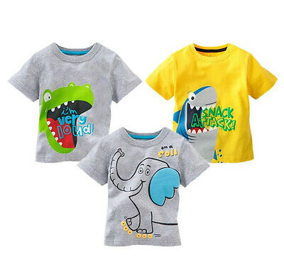 Cartoon Animal Print Baby Kids Boys Cotton Tops T-shirt Age 1-6 Years