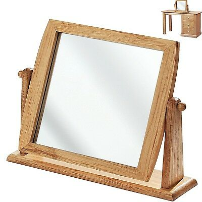 Wooden Dressing Table Mirror Bathroom Shaving Makeup Wood Frame Swivel Mirror