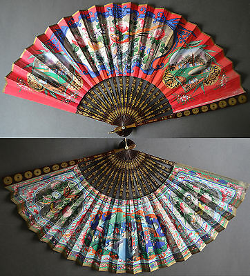 19TH C CHINESE LACQUER FAN 1000 FACES BIRDS FLOWER HARBOR SEASCAPE COINS