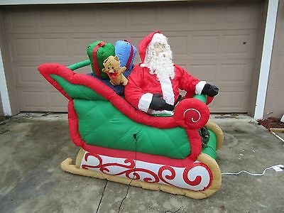 RARE GEMMY LIGHTED INFLATABLE SANTA w/ Presents IN SLEIGH OVER 5' SLED