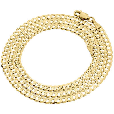 Real 10K Yellow Gold 3.5MM Solid Plain Style Cuban Link Chain Necklace 16-30""