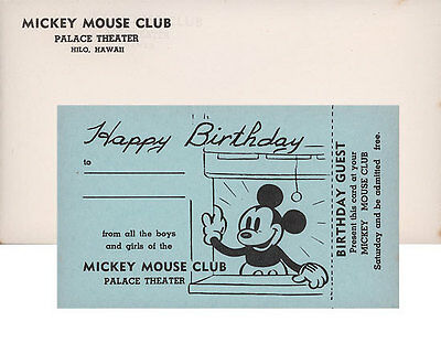 1930's MICKEY MOUSE CLUB Birthday Invitation Card at Hilo Palace Theater HAWAII