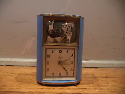 """VINTAGE BLUE STAIGER MUSICAL """"SOME ENCHANTED EVENING"""" ALARM CLOCK-PARTS/REPAIR"""