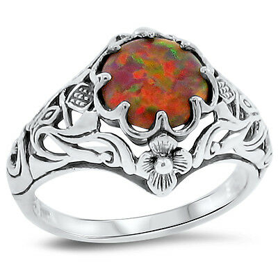 RED LAB FIRE OPAL ART NOUVEAU Scottish Thistle .925 STERLING SILVER RING,   #135