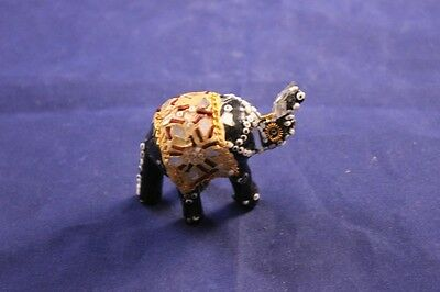 "Lovely Miniature 2"" Black & Gold Circus Elephant Figurine Handmade !!"