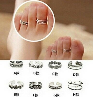 MGCA New Celebrity Simple Retro Flower Design Adjustable Toe Ring Foot Jewelry