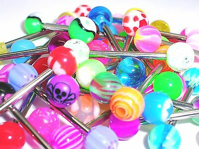 15 mod l funky Tongue Bars PIERCING Jewellery tounge a1 surgical steel