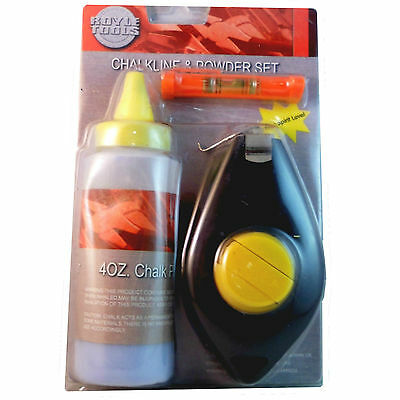 Chalk Line Set 3pc 16 Metre 115g Blue Chalkline Marking Stud Walls Brickwork