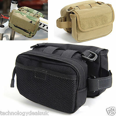 Army Camo Bike Bicycle Frame Pannier Tactical Bag Holder Pouch Mobile Phone