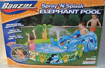 Banzai Spray 'n Splash Water Spraying Elephant Inflatable Pool & Slide Ages 2+