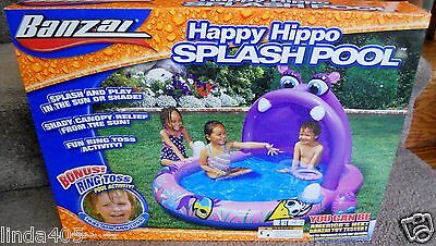 Banzai Splash Play Shade Canopy Splash Pool Happy Hippo Ages 3+ With Ring Toss