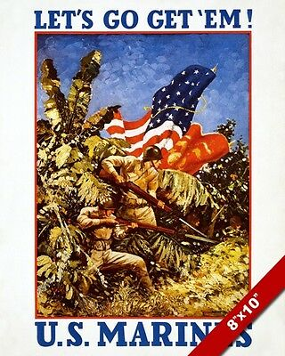 Wwii United States Marine Corps Propaganda Poster Painting Real CanvasArt Print