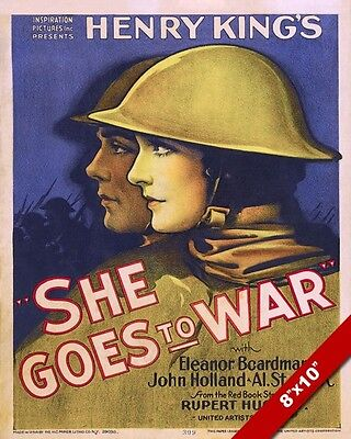 Wwi She Goes To War Movie Propaganda Poster Painting Real CanvasArt Print
