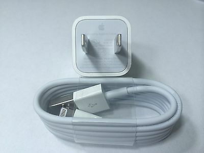 NEW OEM APPLE iPHONE 6 Plus 5 5S 5C CUBE AC WALL CHARGER & LIGHTNING CABLE A1385