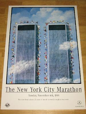 "New York City 1994 Marathon Poster "" World Trade Center "" Original Plakat Wtc"