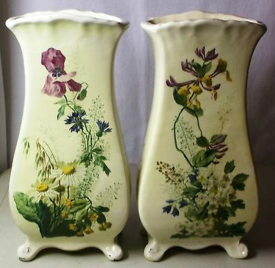 Clement Massier Art Pottery vases hand painted flowers matching pair 1890-1910
