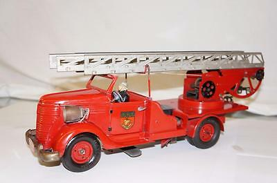 1930S LARGE WIND UP FRENCH FIRE TRUCK WITH COMPOSITION DRIVER HEADLIGHTS TIN TOY