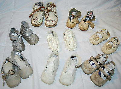Lot Of Assorted Vintage Leather Baby Shoes & Leather Beaded Baby Moccasins