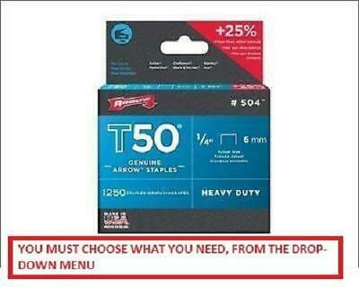 ARROW T50 STAPLES PACKS OF 1250 - 6, 8, 10, 12 & 14mm Available