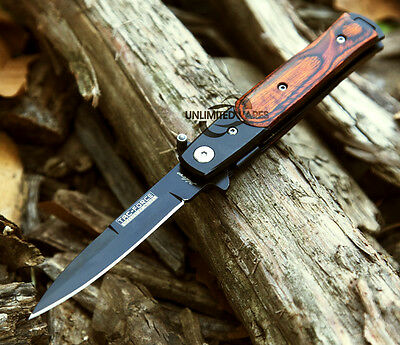 """7"""" WOOD STILETTO SPRING ASSISTED FOLDING KNIFE Pocket Blade Assist Open Switch"""