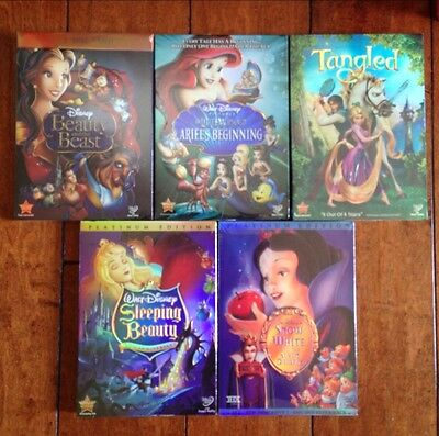 Mint disney movies:SnowWhite, Beauty&Beast, Tangled, Sleeping, Mermaid Beginning