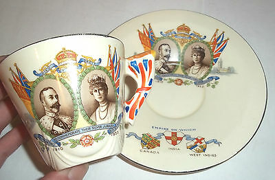 Scarce Burleigh Ware King George V  Silver jubilee Commerative Cup & saucer 1935