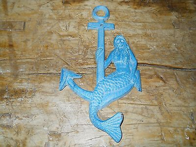 3 Cast Iron MERMAID ANCHOR Towel Hooks Hat Rack Nautical Swimming Pool Hook Blue