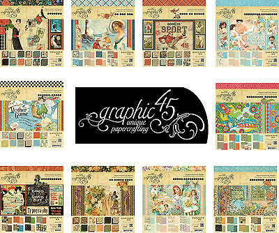 """Graphic 45  8""""x8"""" Papers SAMPLE / TASTER PACKS from your choice of Scrapbook Pad"""
