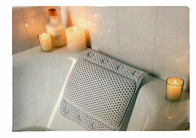 White Cushion Bath Pillow With Suction Pads