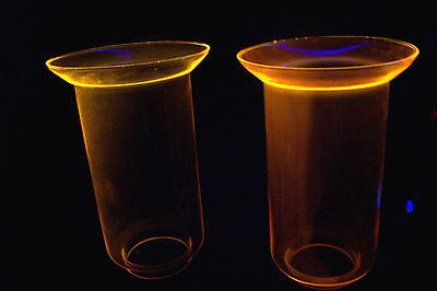 Vintage Pair of Yellow UV Reactive Fluorescent Glass Table Light Lamp Shades