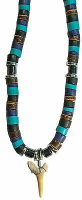 Set Of 3 Fossil Shark Teeth Blue, Brown Bead Necklace