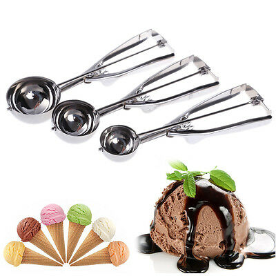 3Pcs/set Ice Cream Spoon Stainless Steel Spring Handle Masher Cookie Scoop