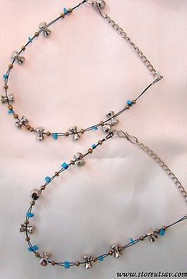 2 Anklets Blue Colored and Metal Mineral beads on a Black flexi-thread