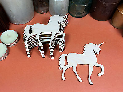 WOODEN UNICORN Shapes 10cm (x10) laser cut wood cutouts crafts blank shape