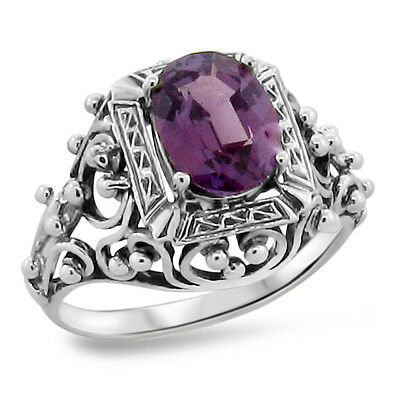 Antique Victorian Style Color Changing Lab Alexandrite 925 Silver Ring,     #264
