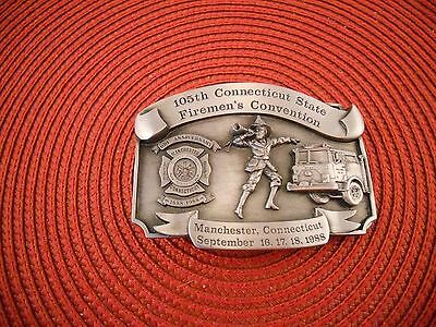 1988 105Th Connecticut Firemans Convention Belt Buckle Leather King #371 NEW