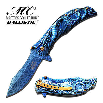 """8.25"""" BLUE DRAGON SPRING ASSISTED FOLDING KNIFE Blade pocket open switch"""