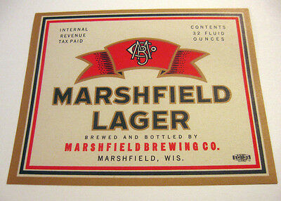 (IRTP) MARSHFIELD LAGER BEER 32OZ - QUART BOTTLE LABEL MARSHIELD WI