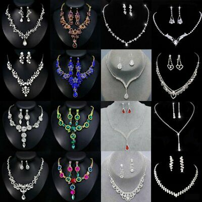 Wedding Bridal Bride Rinestone Crystal Silver Necklace Earrings Jewelry Set