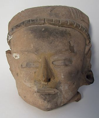 Pre-Columbian, Vera Cruz Terracotta Head, 500 A.D. to 900 A.D.