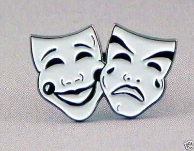 Comedy and Tragedy 2 Drama Masks enamel pin / lapel badge