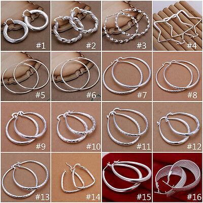 Wholesale Womens Jewellery 925Sterling Silver Round Hoop Dangle Earrings Fashion
